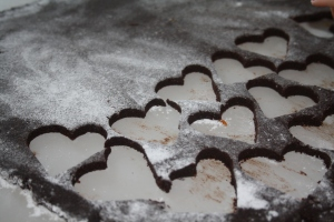 Cutting out chocolate hearts