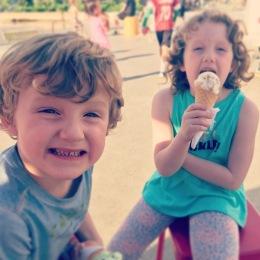 Both eatin ice creams